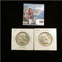 1958 D & 61 D Franklin Half Dollars, AU-BU.