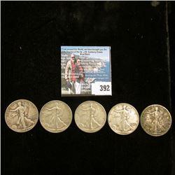 (5) Old Walking Liberty Half Dollars dating back to 1917.