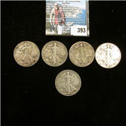 (7) Old Walking Liberty Half Dollars dating back to 1917 and grading up to VF.