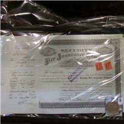 """March, 1939 Stock Certificate valid for 100 Shares of Ten Dollars (Cancelled) of """"Security Fire Insu"""
