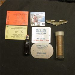 """""""1975-1976 Motorcycle Vehicle Tax Moline Expires Aug. 1, 1976"""" Aluminum tag, mint condition; """"1978-1"""