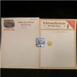 """Two pieces of Stationery from """"G. heileman Brewing Co. Old Style Lager La Crosse, Wisconsin"""" & """"Gard"""