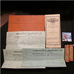"""""""Aetna Insurance Company Hartford, Conn."""" Policy holder envelope; (3) 1907-08 Invoices from """"Mechani"""
