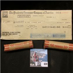 """Never cashed check for .54c from """"The Prudential Insurance Company of America"""";  as well as a pair o"""