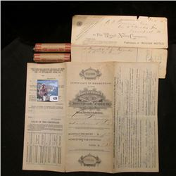 """9/12/1892 Paid Invoice """"The Rough Notes Company""""; $1,000 Certificate """"Brotherhood of American Yeoman"""
