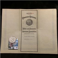 """1937 """"$1,000 Combination Certificate Issued by the Police and Firemen's Insurance Association Indian"""