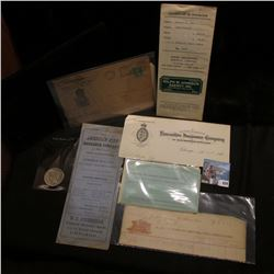 Group of ten pieces of Insurance Memorabilia dating 1890s to 1940s; & 1923 S U.S. Peace Silver Dolla