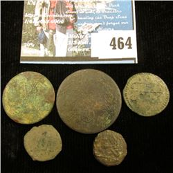 (5) Unattributed early Islamic Copper Coins, all several hundred years old no doubt.