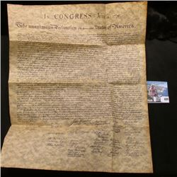 """Reproduction ready for framing of """"The Declaration of Independence""""; & 1880 S U.S. Morgan Silver Dol"""
