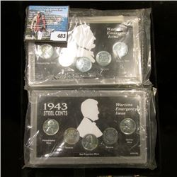 Pair of 1943 Wartime Emergency Issue of Steel Cents in a plastic case with portrait sillouette. Each