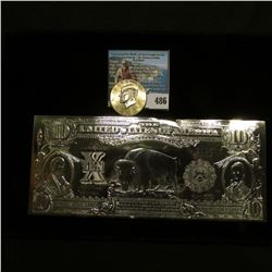 Silver Foil Reproduction of Indian $5 Un Papa Note on one side and $10 Buffalo on the other, small n
