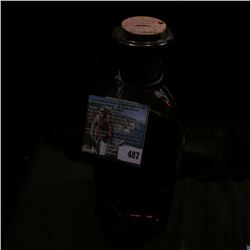 """Corked Amber Bottle """"Perozin…Hofbauer Bros. Hannibal, Mo,"""" 9"""" in height, empty, but cork in place."""