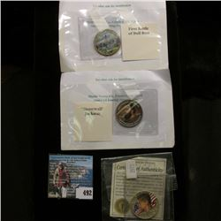 """Three different enameled Kennedy Half-Dollars, one of which is a 1968 D 40% Silver, includes """"Stonew"""