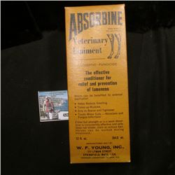 """Original box with Amber bottle """"Absorbine Veterinary Liniment…W.F.Young, Inc….Springfield, Mass."""", t"""
