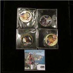 """(4) Enameled Kennedy Half-Dollars, (2) are  40% Silver, includes """"The King of Rock and Roll Elvis"""","""