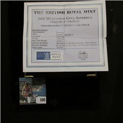"""Special Cased """"The British Royal Mint 2000 Millennium Gold Sovereign"""" with certificate of authentici"""