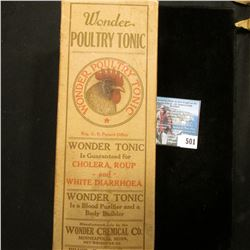 "Original box with Amber bottle ""Wonder Poultry Tonic For Making the Best Egg Producer and Poultry Fo"