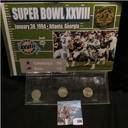 January 30, 1994 Atlanta, Georgia Super Bowl XXVIII Medal on placard, Gem BU; & a three-piece Nickel