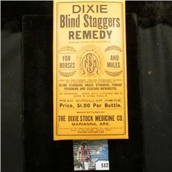 "Empty Box ""Dixie Blind Staggers Remedy for Horses and Mules…Marianna, Ark."""