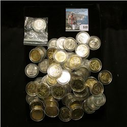 (29) Gold-plated Statehood Quarters, all encapsulated; & (35) Brilliant Uncircluated Encapsulated St