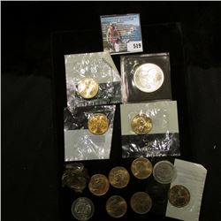 (11) Dollar Coins, many in Littleton holders; (2) 2005 D Nickels, encapsulated; & Apollo 11 30th Ann