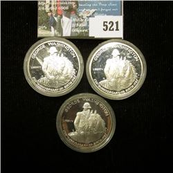 (3) 1982 S George Washington .900 fine Silver Proof Commemorative Half-Dollars, all encapsulated.