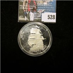 "2000 Republic of Liberia $20 ""Wasa"" .999 Fine Silver Proof. Mtg. 20,000. Complete with certificate o"