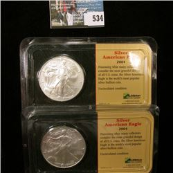 (2) 2004 Silver American Eagle Dollars, Brilliant Uncirculated in a Littleton plastic blast packs. E