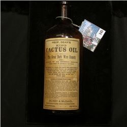 Prof. Dean's King Cactus Oil, Brown Empty Bottle, Olney & McDaid, Clinton, Iowa.