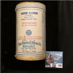 Unopened Container Sodium Floride, Des Moines Drug Co.,  Baby Chick Louse Powder,Dr. David Roberts V
