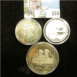 """2000 Republic of Liberia, $10 Commemorative """"Air Force Boeing 707"""", Silver and encapsulated; 2000 Re"""