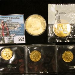 1941 Ireland Gold-plated One Penny in a Littleton holder; 2001 Gold-plated Liberia $10 Commemorative