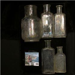 (5) Old cork stoppered Medicine Bottles, all empty.