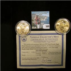 Pair of copies of 1933 Gold Double Eagle Proof Coins with a certificate of authenticity, both encaps