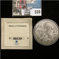 """""""Christ's Carrying of the Cross"""" .999 Fine Silver 20 Grams Coin, 40 mm, encapsulated."""
