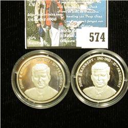 Pair of  John F. Kennedy 1861-1963 35th President  .999 Fine Silver Medal, encapsulated.
