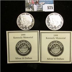 Pair of 1999 Kennedy Memorial Republic of Liberia Silver $10 Commemoratives. Both struck in .999 Pur