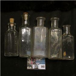 (5) Cork style old Medicine Bottles.