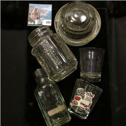 """(2) Different Shot glasses from the Amana Colonies; """"Moroline"""" Bottle; Glass lid for a compote; and"""