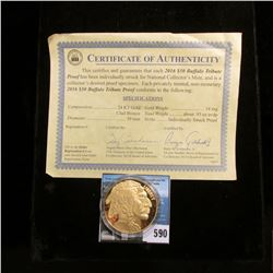 2016 $50 Buffalo Tribute Proof 24 KT Gold Clad Bronze with Certificate of Authenticity.