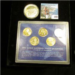 "2000 Republic of Liberia Five Dollar ""Mayflower"" Commemorative, BU, encased; & 2003 Gold Layered Sta"