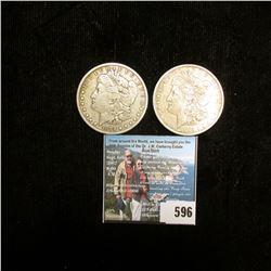 1884 P & 1885 O U.S. Morgan Silver Dollars, F-VF.