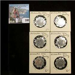 """(6) Uncirculated """"Good For/10c/In trade"""", """"Arleigh's/Alleys/1108 W./Lincoln Ave."""" Tokens."""