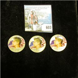 1966 P, 67 P, & 68 D 40% Silver Kennedy Half-Dollars, all three with enameled heads and flag in back