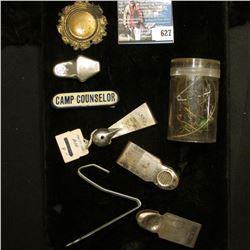 """Mixed Group of Pin-back parts,""""Past Sachem"""", """"Chief of Records"""" Pendant; """"Camp Counselor"""" Pin-back;"""