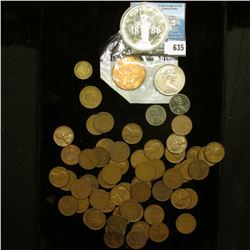 Bag of Approximately (50) Wheat Cents; Australian 20c Coin; 1967 Great Britain Large Penny, BU; & a