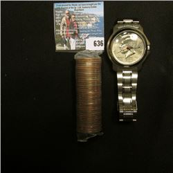 Mint-wrapped Roll of Iowa Statehood Quarters, Gem BU and in plastic; & a wrist watch which needs a b