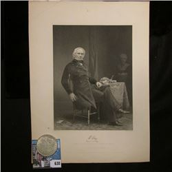 """Steel engraving of U.S. Politician Henry Clay. """"Likeness from a Portrait in the possession of his fa"""