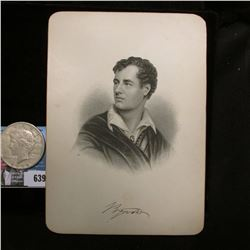 """Steel engraving of famous poet Lord Byron, 1788-1824, 5"""" x 7""""; & 1922 S U.S. Peace Silver Dollar, VF"""