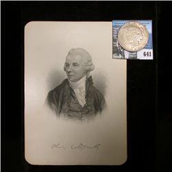 "Steel engraving of famous writer Oliver Goldsmith (10 November 1728 – 4 April 1774) measures 5"" x 7"""
